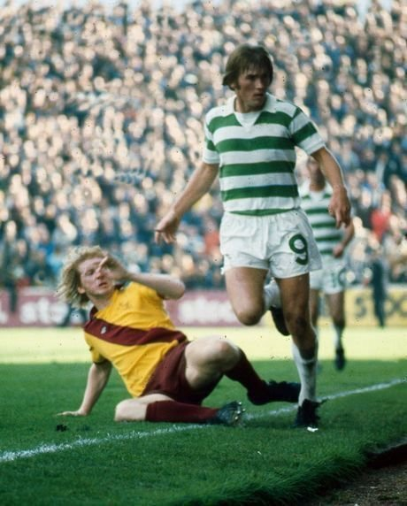 Kenny Dalglish of Celtic in action against Motherwell in 1975.